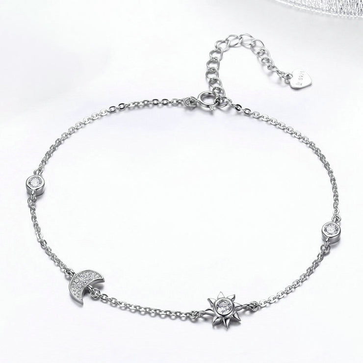 Sun And Moon Sterling Silver Chain Bracelet