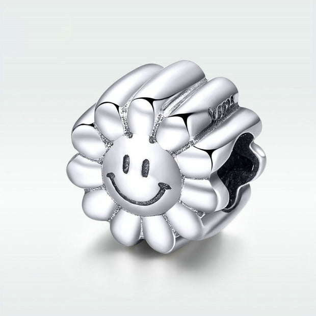 Sun Flower Smiley Face Sterling Silver Bead