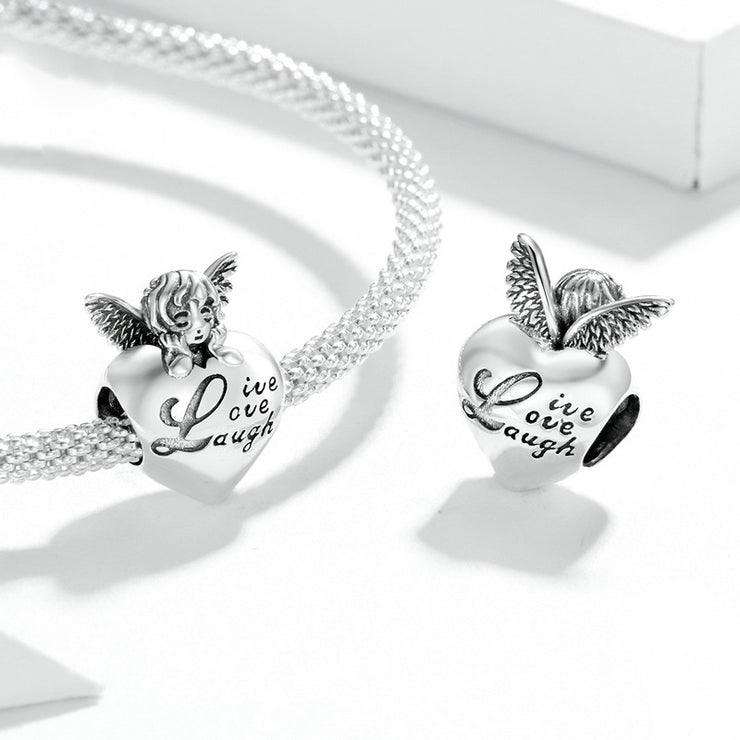 Thanksgiving Angel Sterling Silver Heart Charm Bead