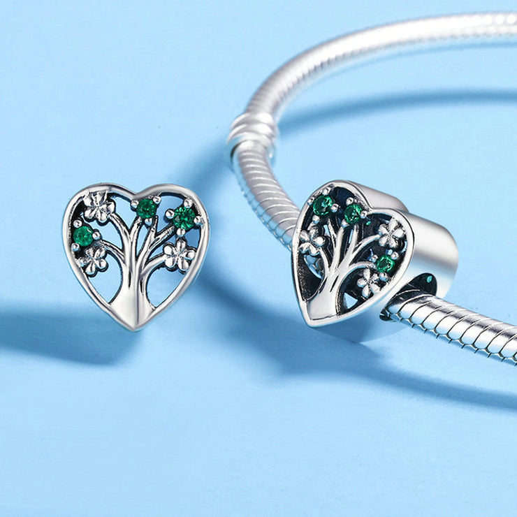 Tree Of Life Sterling Silver Hollow Heart-shaped Bead