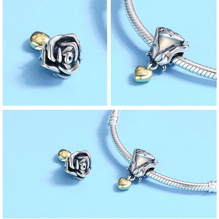 True Love Rose Sterling Silver Charm Bead