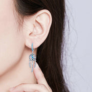 Vintage Blue Dream Catcher Bohemian Drop Earrings
