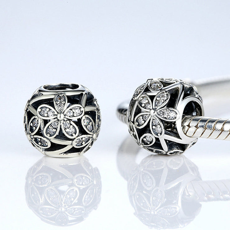 Vintage Daisy Flower Hollow Sterling Silver Bead
