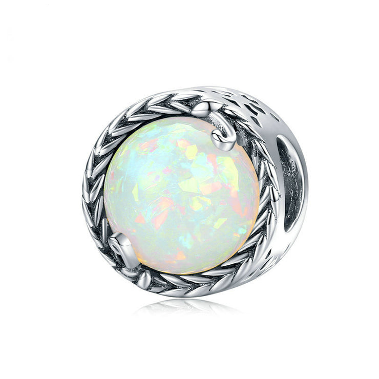 Vintage Vine White Opal Sterling Silver Bead