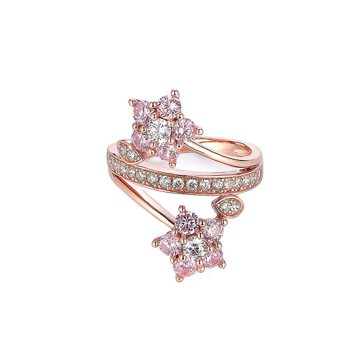 DUNALI™ 2 PINK FLOWER PlUM BLOSSOM STYLE STERLING SILVER RING-DUNALI