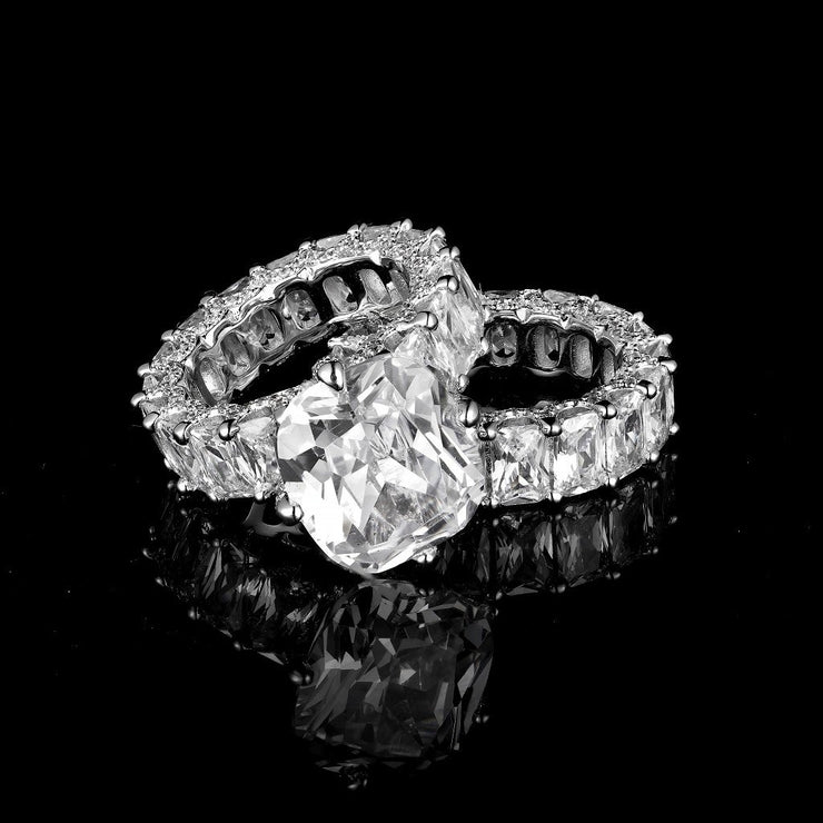 DUNALI™ Cushion Cut 2-Piece Sterling Silver Paved Stack Rings Set-DUNALI
