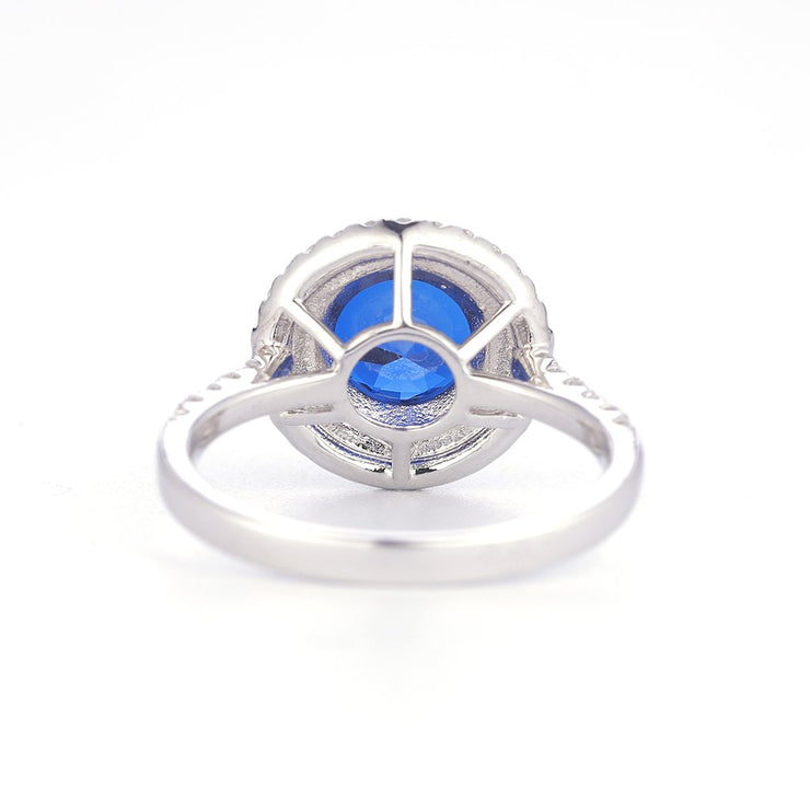 DUNALI™ Double Halo Round Cut Blue Gemstone Sterling Silver Ring-DUNALI