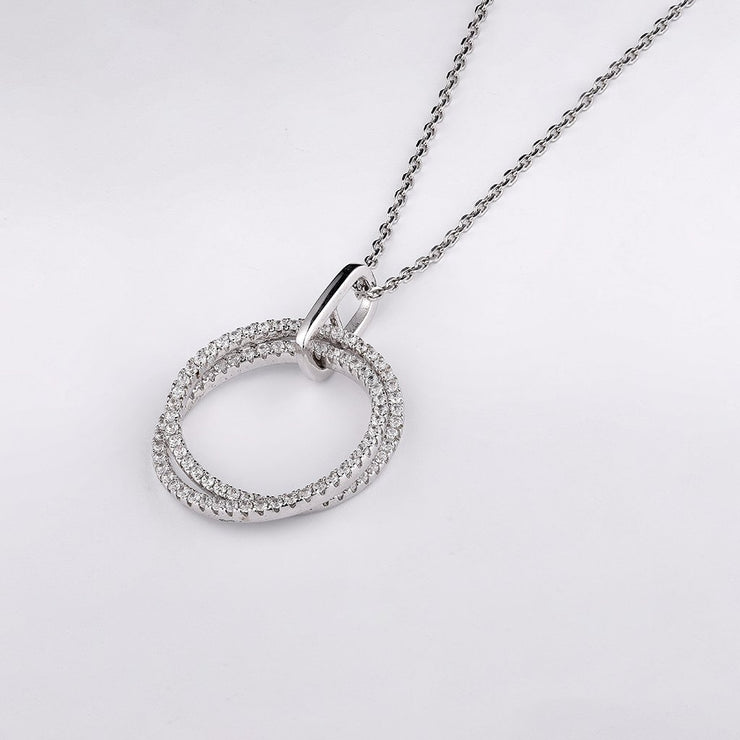 DUNALI™ DOUBLE INTERTWINED RING INSPIRATION STERLING SILVER PENDANT-DUNALI