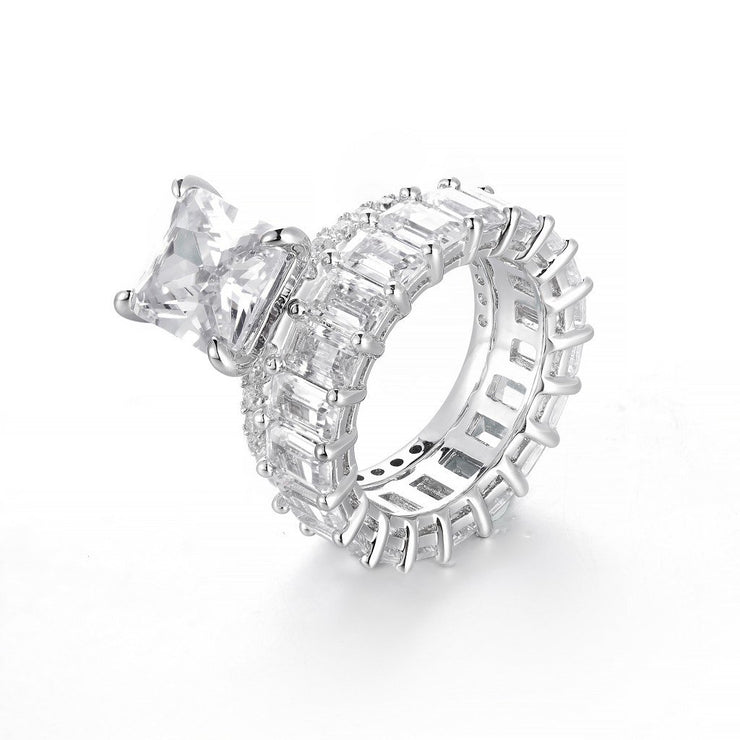 DUNALI™ Emerald Cut 2-Piece Sterling Silver Art Deco Stack Rings Set-DUNALI