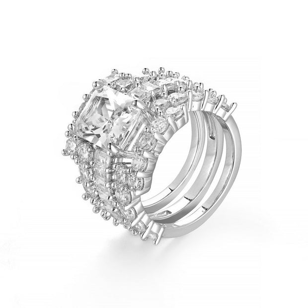 DUNALI™ Emerald Cut Gemstone 3-Piece Silver Paved Band Stack Rings Set-DUNALI