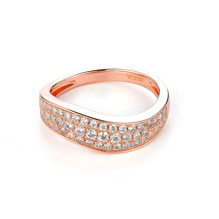 DUNALI™ FULL PAVED STONES VINTAGE STYLE ROSE GOLD COLOR RING-DUNALI