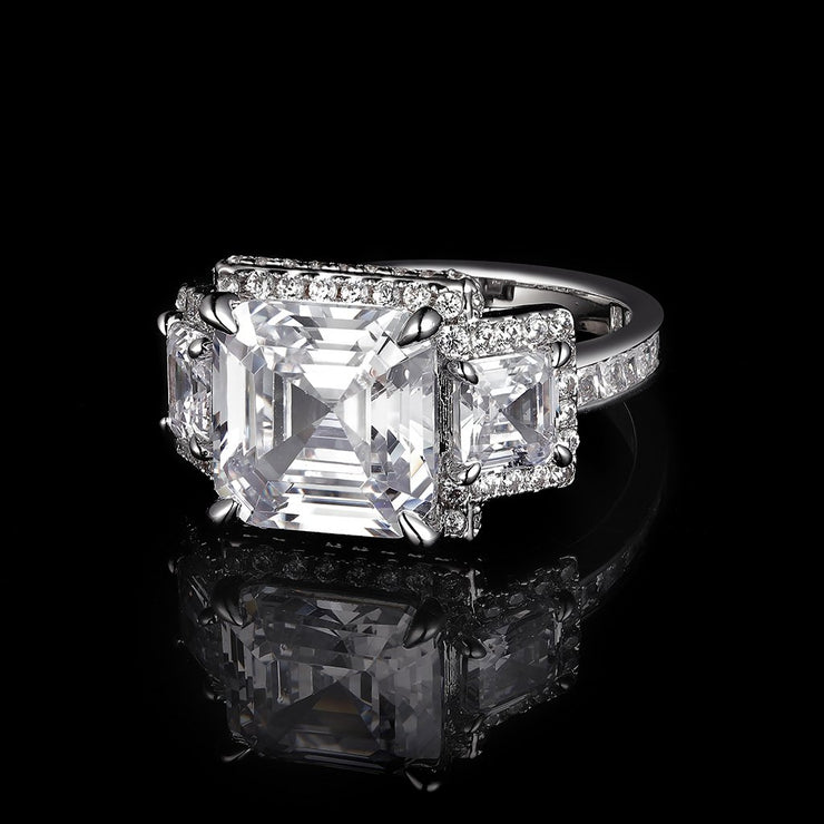 DUNALI™ Halo Asscher Cut Three Stones Pave S925 Silver Ring-DUNALI