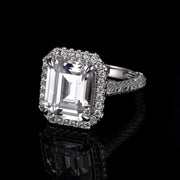 DUNALI™ Halo Baguette Cut Sterling Silver Solitaire On Pavé Band-DUNALI
