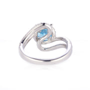 DUNALI™ Halo Blue Gemstone Split-shank Sterling Silver Ring-DUNALI