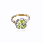 DUNALI™ Halo Cushion Cut Yellow Gems Sterling Silver Engagement Ring-DUNALI