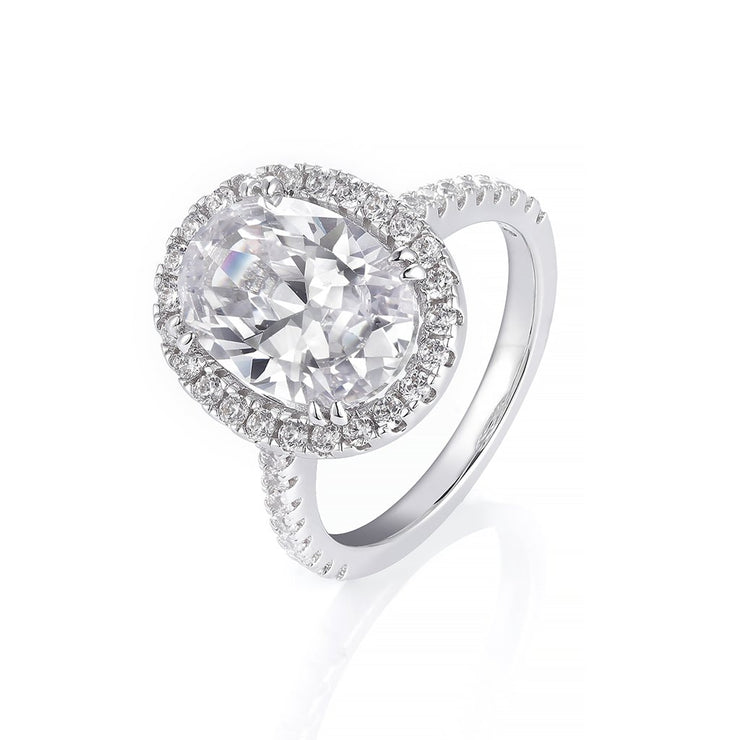 DUNALI™ Halo Oval Cut Gems On Pave Band S925 Silver Ring-DUNALI