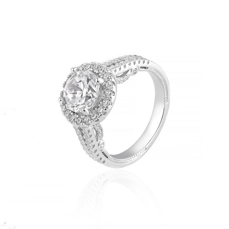 DUNALI™ Halo Round Cut Solitaire Gems Pave S925 Silver Ring-DUNALI