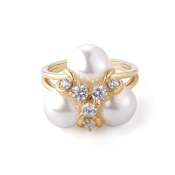 DUNALI™ LETTER Y INSPIRED STERLING SILVER PEARLS RING-DUNALI