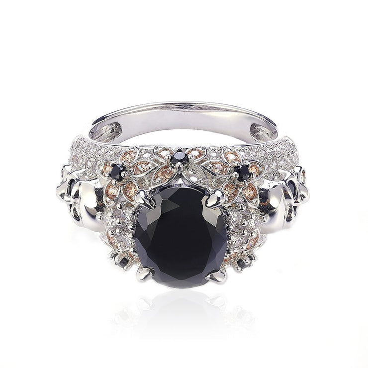 DUNALI™ Magical Skull Black Gems Sterling Silver Ring-DUNALI