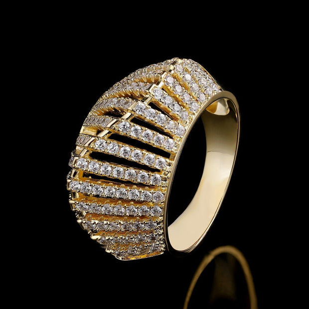 DUNALI™ MYSTERIOUS MULTI PARALLEL GOLD-PLATED SILVER RING-DUNALI