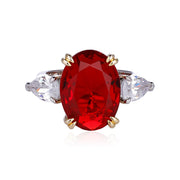 DUNALI™ Oval Cut Red Gems Flanked Pear Stones Sterling Silver Ring-DUNALI