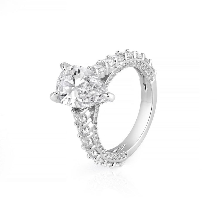 DUNALI™ Pear Cut Sterling Silver Solitaire On Pave Band-DUNALI