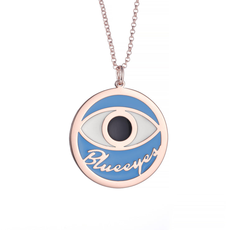 DUNALI™ Personalized Black Eye Necklace/Pendent in Rose Gold