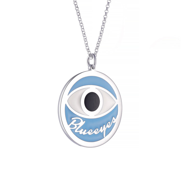DUNALI™ Personalized Black Eye Necklace/Pendent in Silver