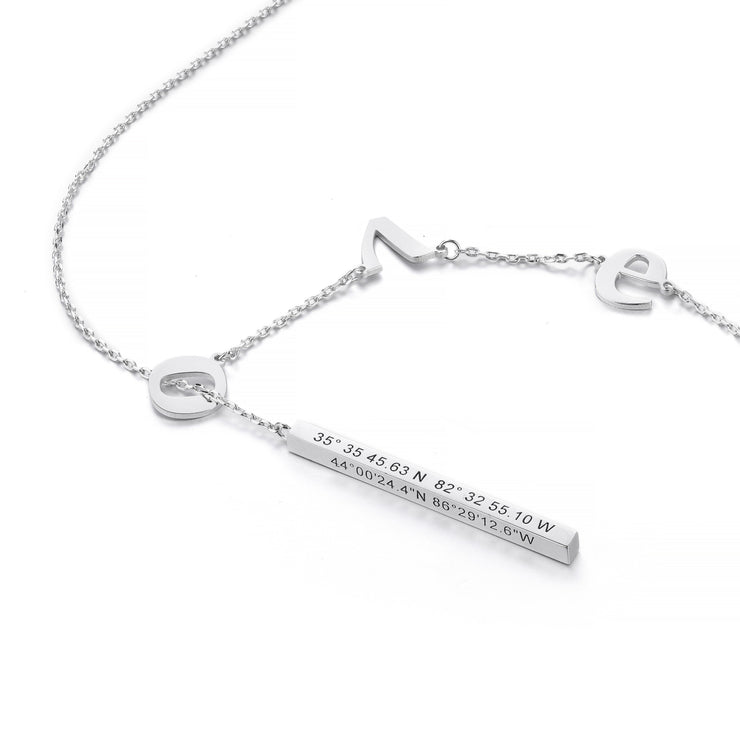 DUNALI™ Personalized Minimalist Cuboid Pendent Silver Necklace in Silver