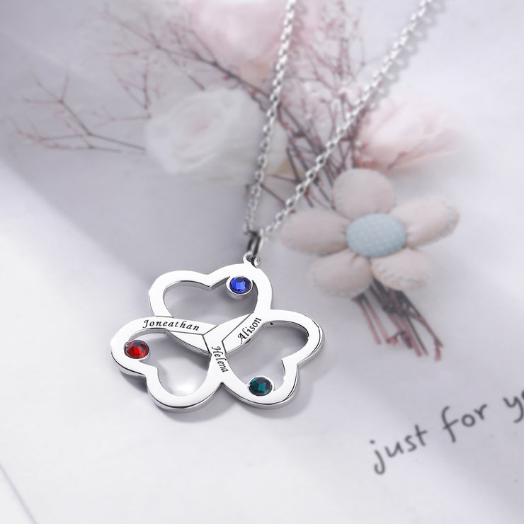 DUNALI™ Personalized Heart Flower Silver Necklace/Pendent in Silver