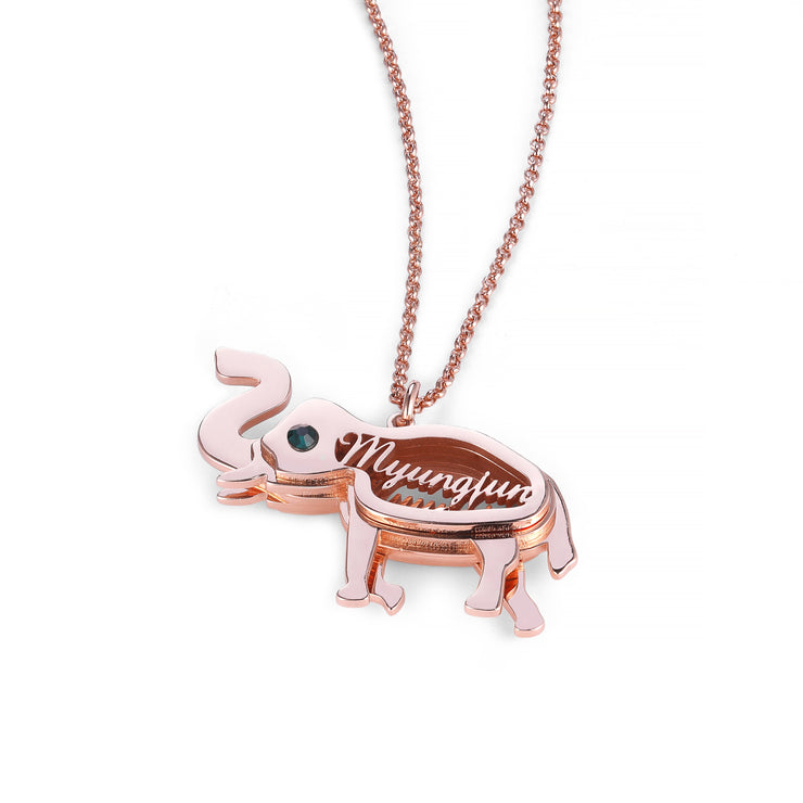 DUNALI™ Personalized Lovely Elephant Silver Necklace/Pendent In Rose Gold