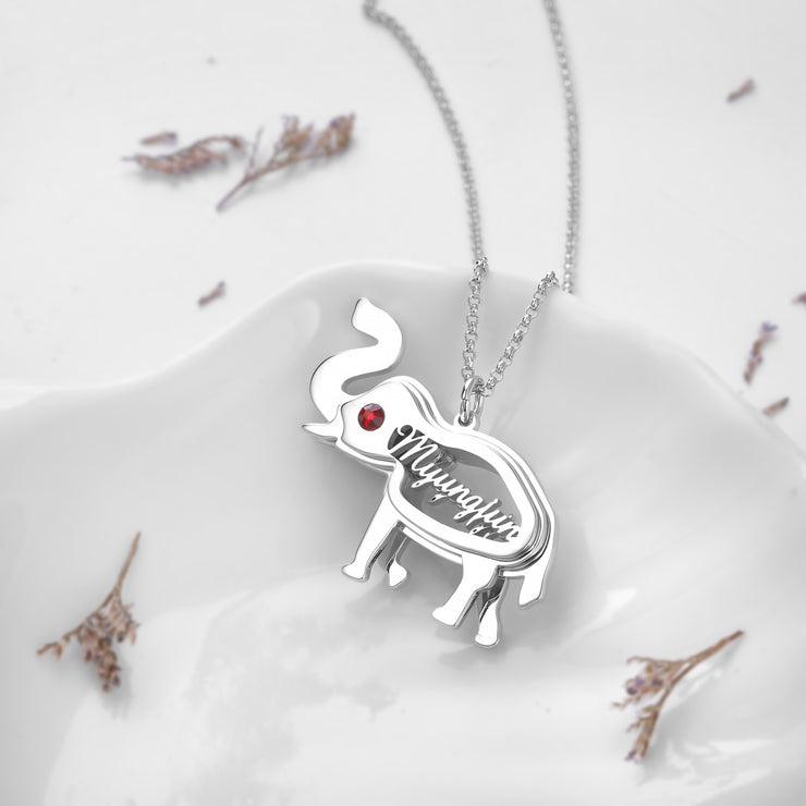 DUNALI™ Personalized Lovely Elephant Silver Necklace/Pendent In Silver