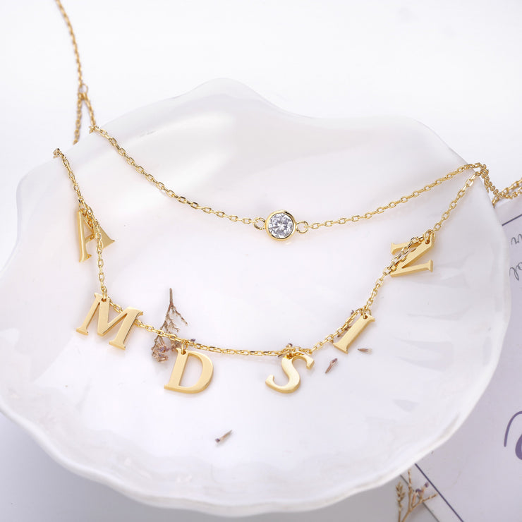 DUNALI™ Personalized Monogram Necklace/Pendent in Gold