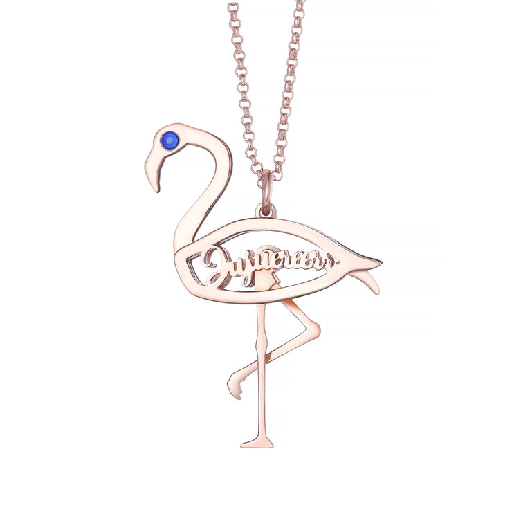 DUNALI™ Personalized Unique Swan Silver Necklace/Pendent In Yellow Gold