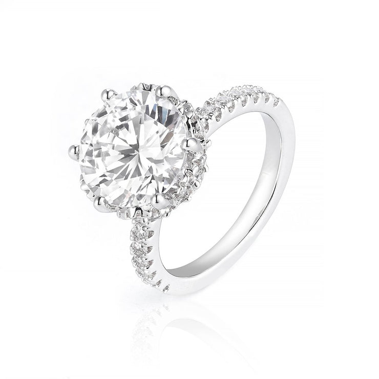 DUNALI™ S925 Silver Round Cut Solitaire Gemstone On Pave Band-DUNALI