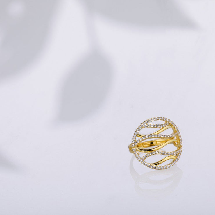 DUNALI™ SEA WAVE STYLE FINE DESIGNED GOLD-PLATED SILVER RING-DUNALI