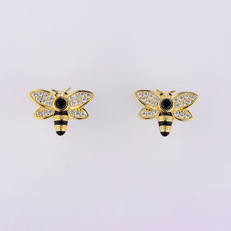 DUNALI™ SPIRITUAL BEE INSPIRATION MICROPAVED ZIRCON STONES STUD EARRINGS-DUNALI