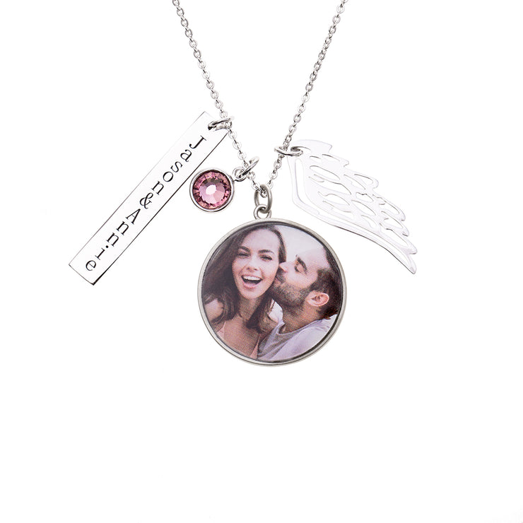 Sterling Silver Personalized Couple Charm Necklace with Stone and Custom Picture