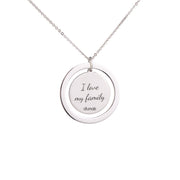 Sweet Round Custom Picture Pendant with Engraved Name Sterling Silver Necklace