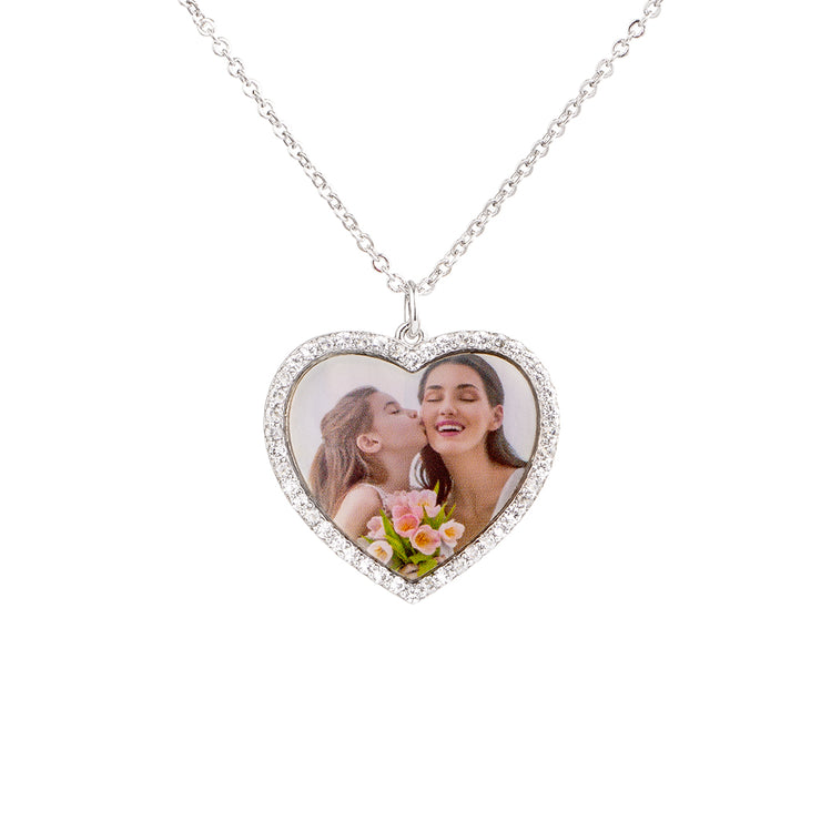 Engraved Heart Pendant Family Personalized Sterling Silver Photo Necklace