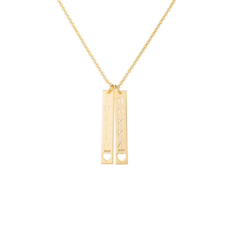 Gold Plated Vertical Bar Necklace with Hearts Shape