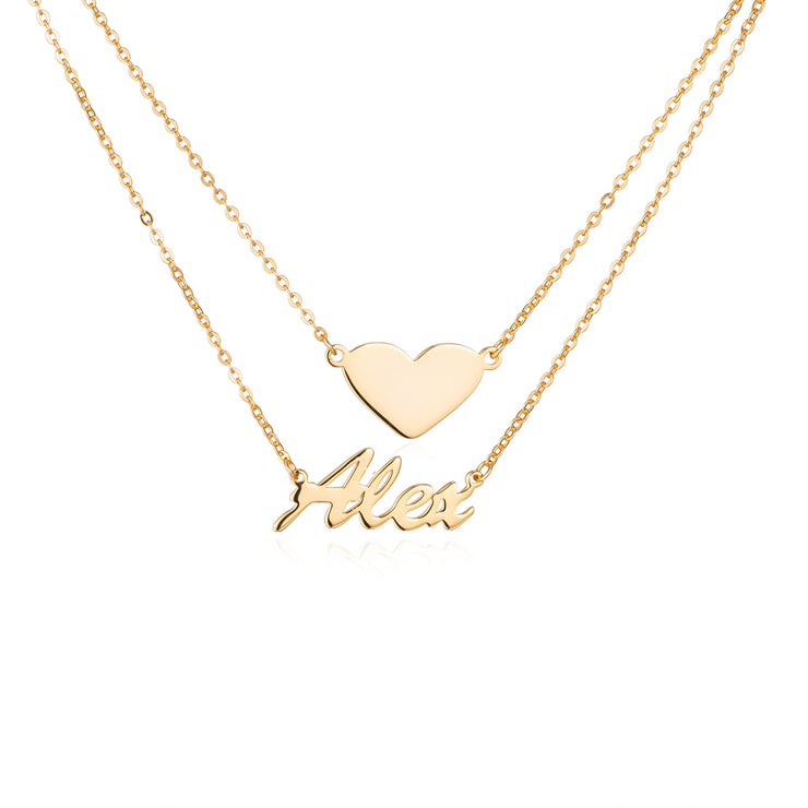 Sterling Silver Double Layers Heart Necklace Name Pendant