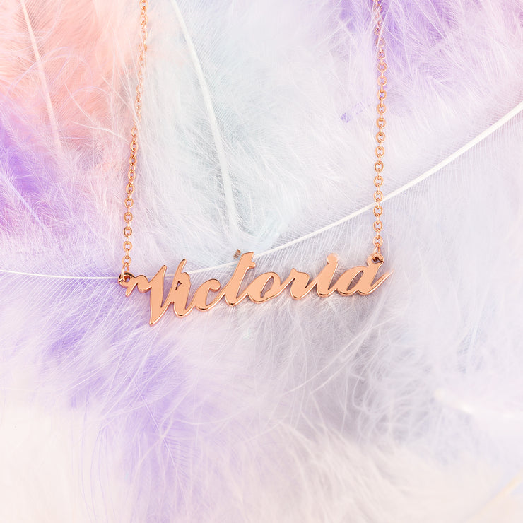 Gold Color Name Necklace in Sterling Silver with Customized Letter