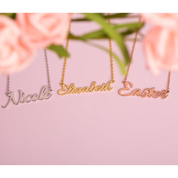 Rose Gold Tiny Name Necklace with Sterling Silver Gold Plating