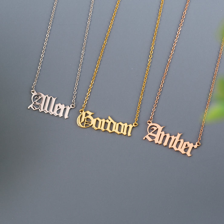 Classic Ancient Handwriting Letter Pendant Old English Style Gothic Name Necklace