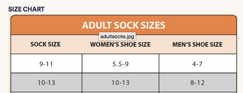 Organic Cotton Ragg Sock Size Chart