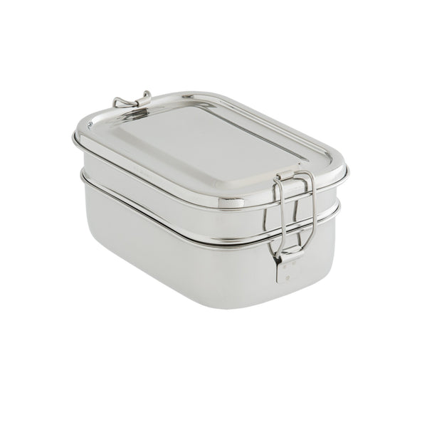 two-layer rectangular stainless-steel lunchbox, bento box, bpa-free, eco-friendly lunchbox