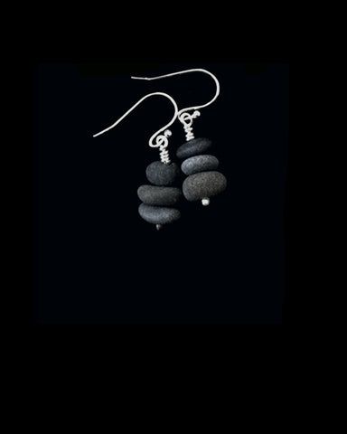 Eco-friendly Teeny Tiny Rock Stack Earrings with silver findings