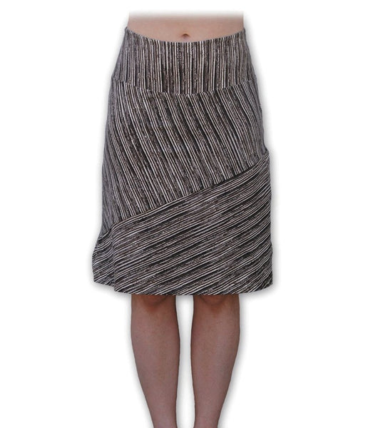 Brown Stripe A-line Bias-cut Organic Cotton Skirt