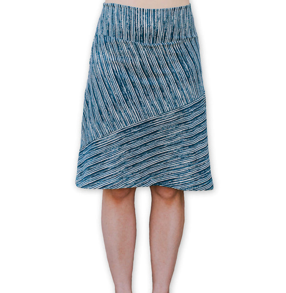 Navy Stripe A-Line Skirt